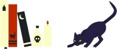 livres et chat halloween
