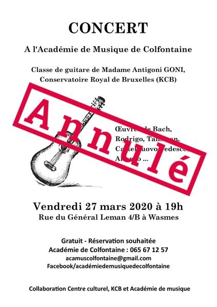 Concert Académie 27 mars 2020 - affiche annulé